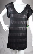 Baby Phat Jean Co. women's blouse knit dress sequined black short sleeve size L - $29.98