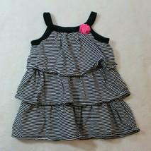 Carter's Girls Dress Size 24 Months Black White Stripe Pink Rosette Sundress - $17.81