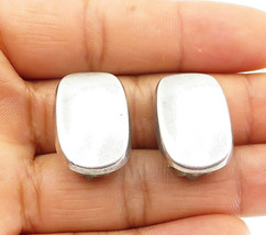 925 Sterling Silver - Vintage Smooth Concave Non Pierce Clip On Earrings - E6162 - $27.97