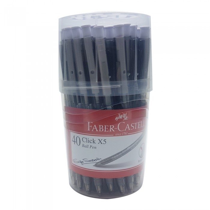 Faber-Castell Click X5 Ball Pen 0.5mm Black-142589 (Drum of 40pcs) for sale  USA