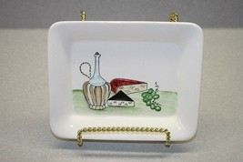 VINTAGE CERAMIC TRAY~DISH~HAND PAINTED~CHEESE WINE AND GRAPES - $12.86
