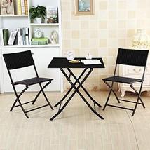 DlandHome 3 PC Rattan Patio Bistro Set Outdoor Furniture Sets Folding Ta... - $99.94