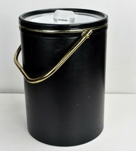 Vintage Mid Century Modern Ice Bucket Faux Black Leather Lucite Gold - $29.95