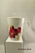 Starbucks 11 oz Christmas Village Coffee Mug Holiday Red House Gold Script 2013 - $10.39