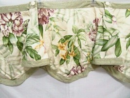 Waverly Angel Trumpets Floral Lavender Yellow Sage Lined Clarissa Valance - $30.00
