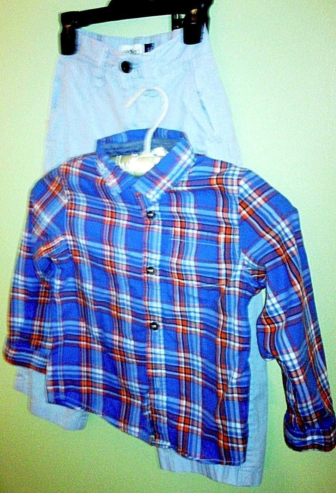 Boys/Toddler Set GAP Relaxed LT Blue Adj. Pants & Cat Jack L/S Button Shirt Blue image 2