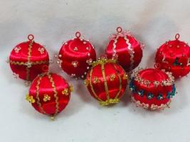 7 Vintage Beaded Spun Satin Christmas Ornament Red Xmas Holiday 25649 - $19.30