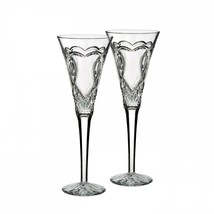 WATERFORD Crystal Wedding Toasting Flute Pair Hearts New # 162833 Love - $155.68