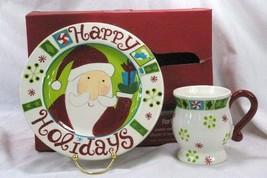 Pier 1 Santa Happy Holidays Mug And Plate Set In Box - $11.77