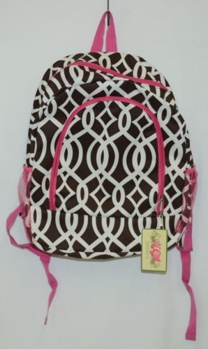 NGIL BIQ403BR Brown White Pink Canvas Backpack Geometric Design