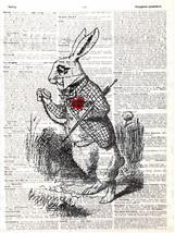 Art N Wordz Alice's White Rabbit Original Dictionary Pop Art Print Wall/... - $24.99