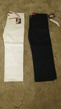 "Dickies Girl's Pants Sz 3 Stretch Fabric  31 x  24.5""  White & Black Lot... - $15.79"