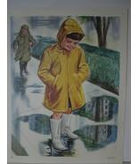 Children in Raincoats Splashing in Rain Puddles - Vintage David C Cook A... - $10.80