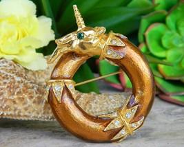 Vintage Unicorn Alexis Kirk Brooch Pin Pendant Enamel Rhinestones - $72.95