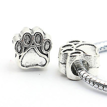 Charms Antique Silver Plated Bear Paw Fit European Bracelet Pendants 10p... - $15.99