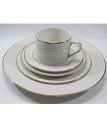 10 Strawberry Street Double Gold Fusion White Porcelain 5 Piece Place Se... - $28.42