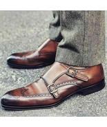 Hommes Fait main Cuir Marron Double moine formel Des chaussures - $214.99