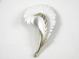 Monet White Enamel Flower or Plume Pin Vintage Jewelry Brooch - $13.49