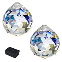 KARSLORA Clear Large Glass Crystal Ball Prism Rainbow Maker Feng Shui Lamp Hangi