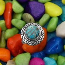 Solid 925 Sterling Silver Round Blue Turquoise Infinity Design Vintage H... - $30.12