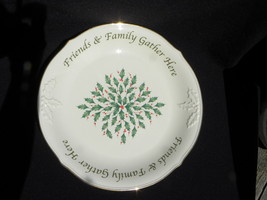 """Lenox Ivory & Gold Dimension Coll """"Friends & Family Gather Here"""" Dessert... - $19.99"""