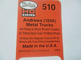 Kadee # 510 Andrews Metal Trucks With #148 Whisker Couplers 1 Pair HO Scale image 2