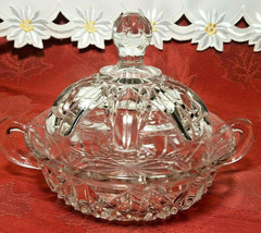 Vintage Clear Pressed Glass Clear Covered Candy Dish With Handles