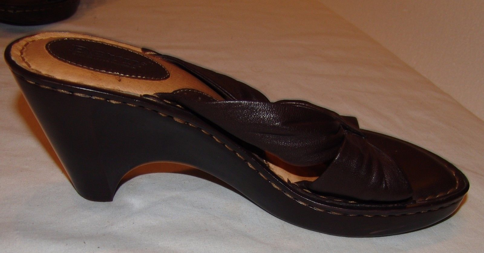 Born Brown Leather Heels 7 Womens Slip On Open Toe Sandals