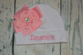 Personalized Newborn Girl Beanie Hat with Pink Bow  - $15.00