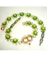 Gemmed Turtle Link Watch & Bracelet Set by Lenox 2 PC. Green & Gold New - $85.90