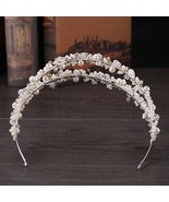 White Pearl Crystal Bridal Hairbands Tiaras Wedding Crown Headband For B... - $25.37