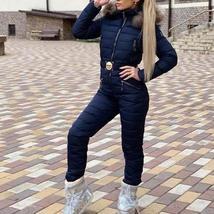 European Women's Fashion OnePiece Fur Lined Hooded Blue Ski Suit Snowsuit image 1