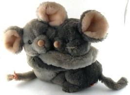 Dakin HUGGING MICE MOUSE Mouses Vintage 1983 Plush Hook & Loop Arms Love - $14.54