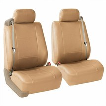 FH Group Tan PU Leather Front Bucket Seat Covers (Set of 2) Car Sedan New - $22.00