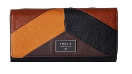 NEW FOSSIL WOMEN'S LEATHER DAWSON FLAP CREDIT CARD CLUTCH WALLET NEUTRAL... - $59.35