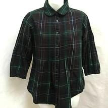 Gap S Top Green Red Plaid Flannel Pintuck Peter Pan Collar Button Shirt - $19.58