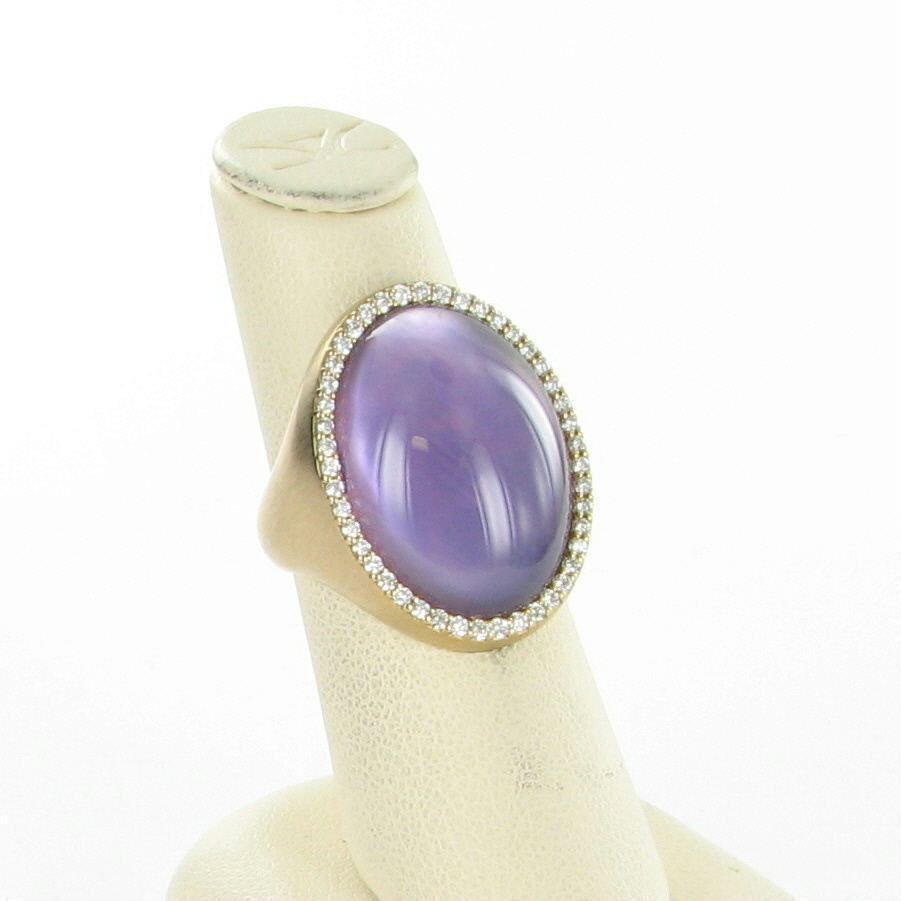 Roberto Coin Cocktail Ring Amethyst Diamond 0.42cts 18K Y Gold Sz 6.5 New $5200