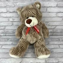 "Goffa Brown Striped Teddy Bear 21"" Plush Stuffed Animal Ribbon Gold Sparkles - $14.50"