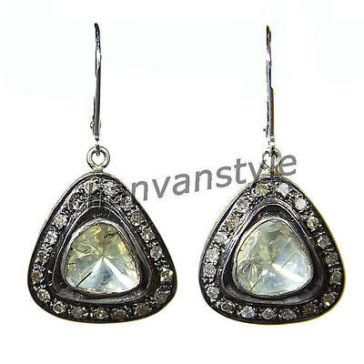 Primary image for Victorian Insp. 1.80Ct RoseCut/Polki Diamond 925 Silver Dangle Earring CJUK297