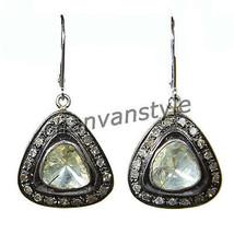 Victorian Insp. 1.80Ct RoseCut/Polki Diamond 925 Silver Dangle Earring CJUK297 - $294.52