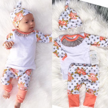 3 PCS /Set 2016 New Baby Girl Boy Clothes Toddler Tassel Flower Clothing Set For - $23.71