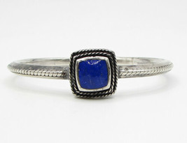 925 Silver - Vintage Leveled Twisted Ropes Framed Lapis Bangle Bracelet - B1378 image 2