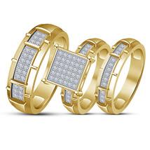 White Diamond Wedding 14K Yellow Gold Fn Trio His Her Bridal Engagement ... - $154.99