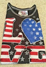 Girl's Beautees Black Sleeveless Tee With Red/White/ Blue Flag Graphics (4) - $9.50