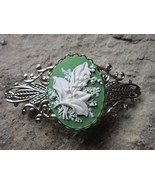 LILY OF THE VALLEY CAMEO SILVER FILIGREE BARRETTE - WHITE - GREEN - FLORAL - $22.05