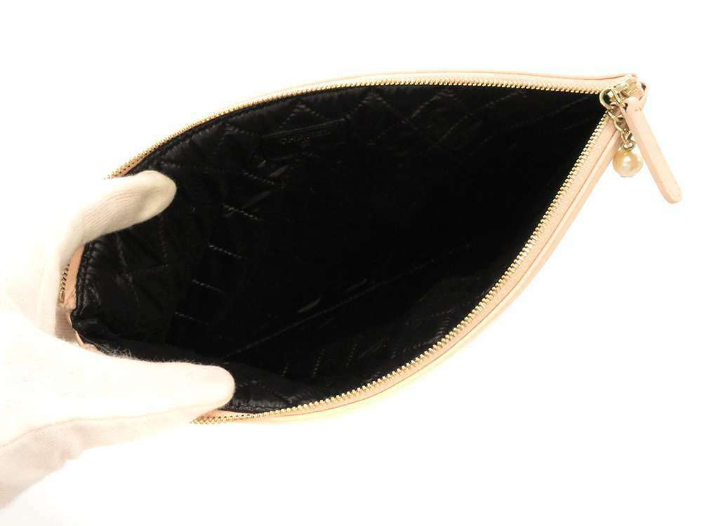CHANEL Clutch Bag Lambskin Black Pink Beige Coco Bow A82474 Italy Authentic