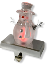 Christmas Stocking Holder Snowman Clear Light Up Colors Shelf Chrome Base - $29.69