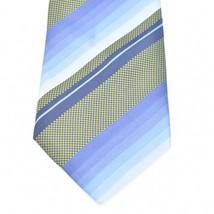Kenneth Cole Blue Green Diagonal Stripes Silk Tie Necktie image 2
