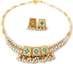 Indian Bridal Necklace Reversible Gold Plated Blue Brown White Pearl Jewelry S - $14.95