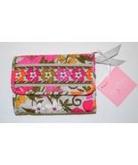 NEW VERA BRADLEY Euro Wallet Tea Garden Pink Gr... - $19.99